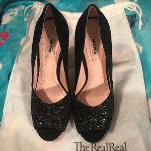 Miu Miu Black Glitter Heels